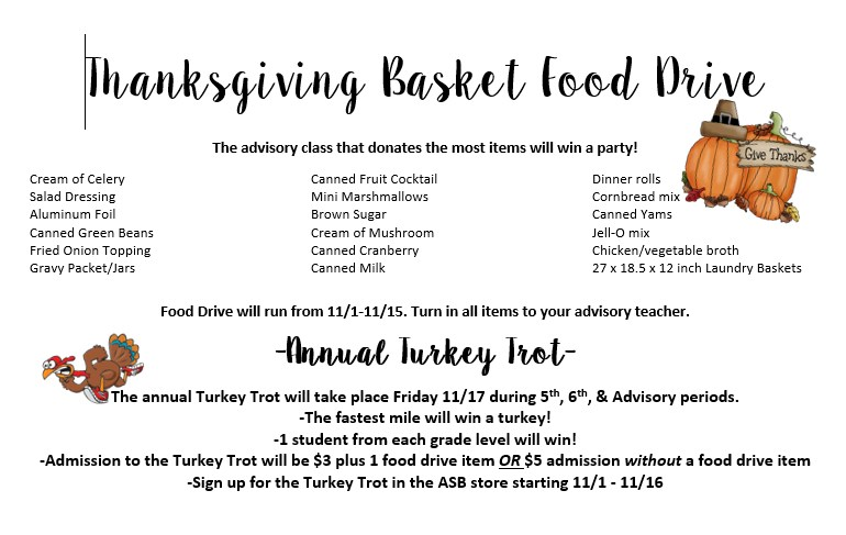 Items for Food Drive