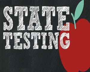 state testing sign with apple