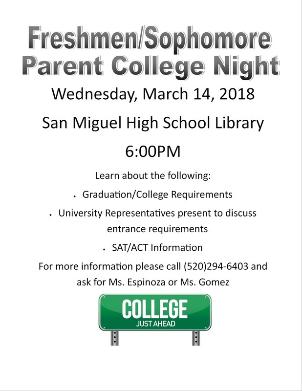 Freshmen/Sophomore Parent College Night! Thumbnail Image