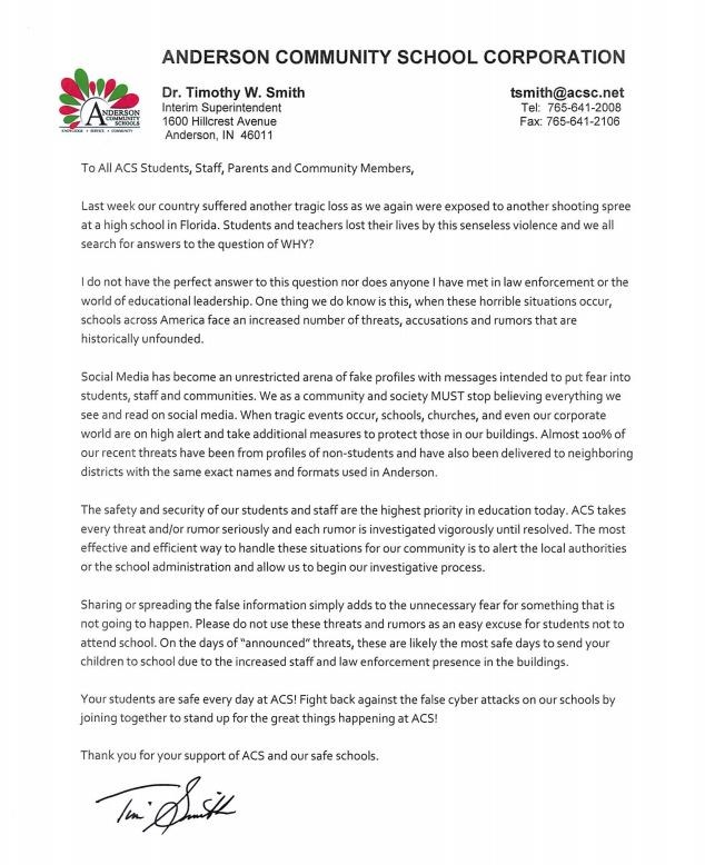 Letter from Anderson Community Schools Thumbnail Image