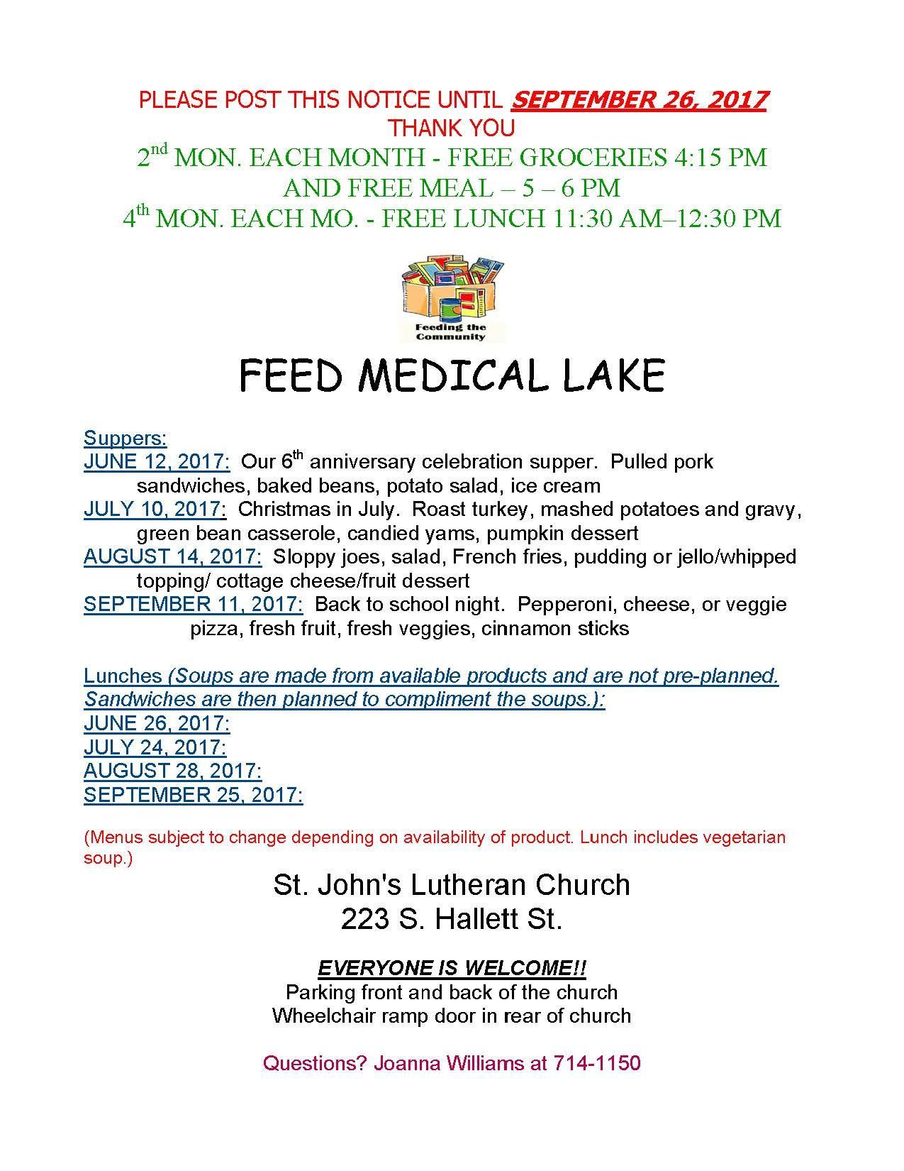 FEED Medical Lake June through September Flyer