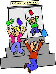Three kids running out of school throwing their books up in the air