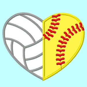 heart shaped by volleyball and softball