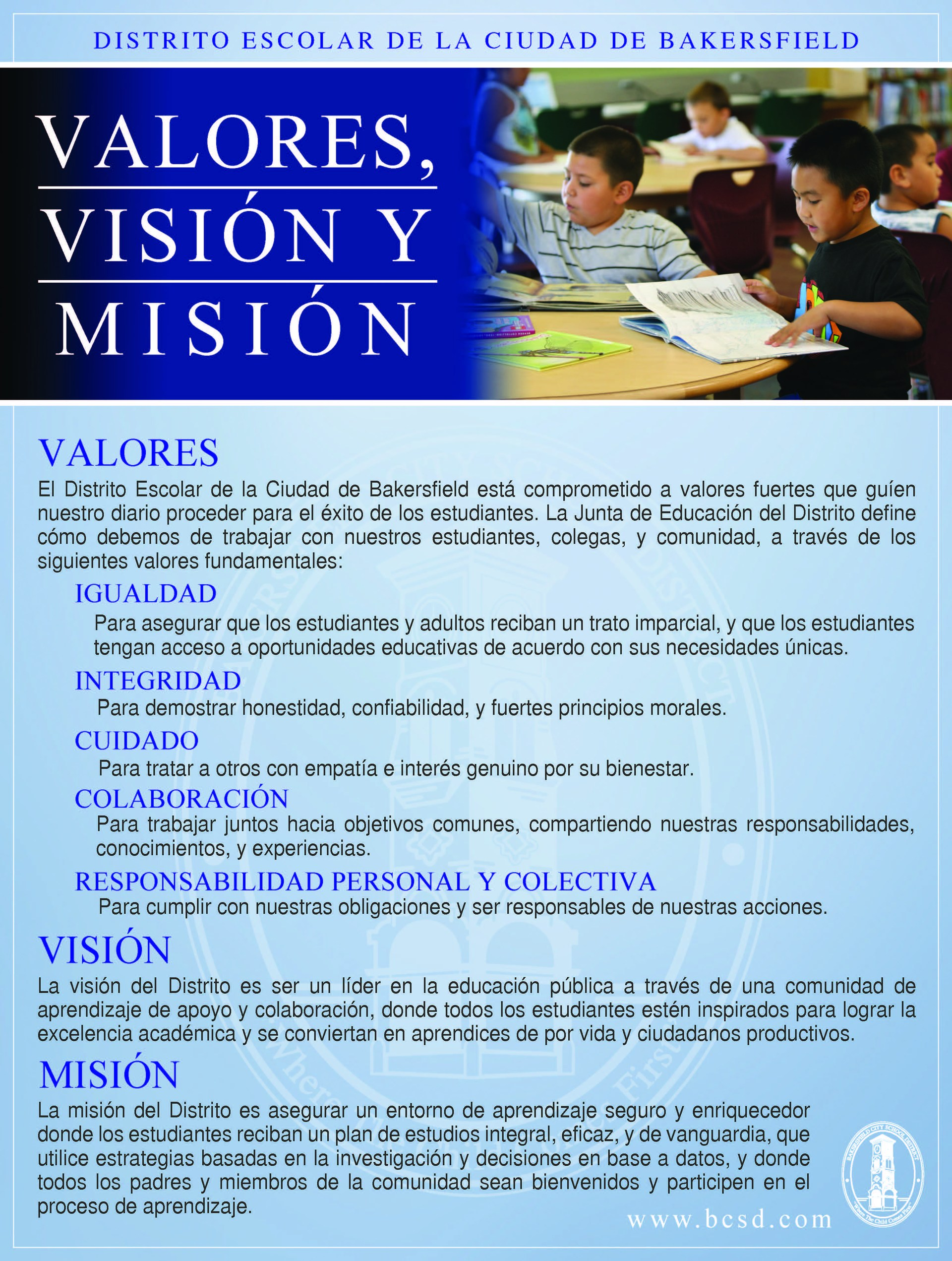 BCSD's Mission and Vision in Spanish