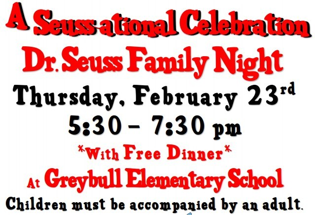 Dr. Seuss night at GES, Thursday February 23 5:30pm - 7:00pm