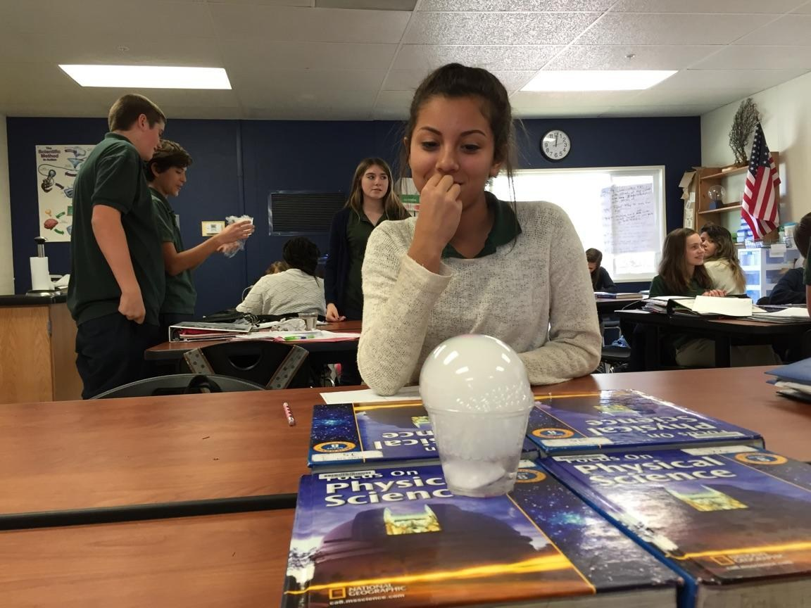 In science class, the eighth graders used dry ice in class to show the process of sublimation
