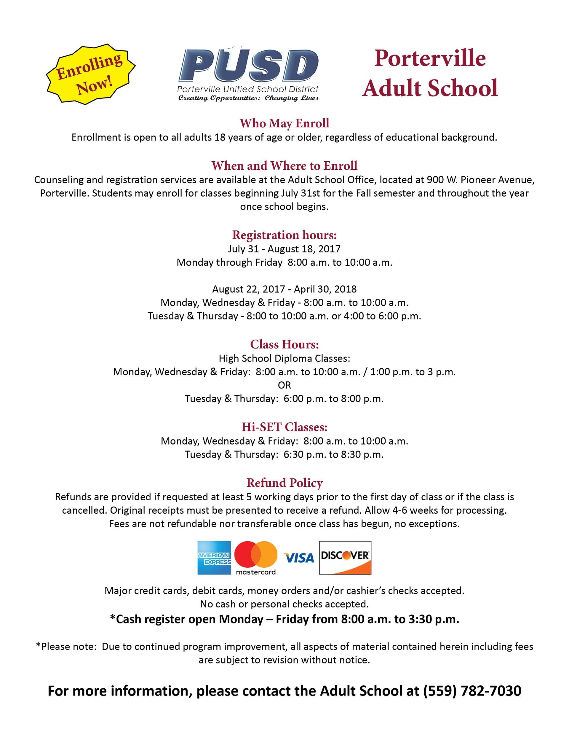 Adult School Open Enrollment
