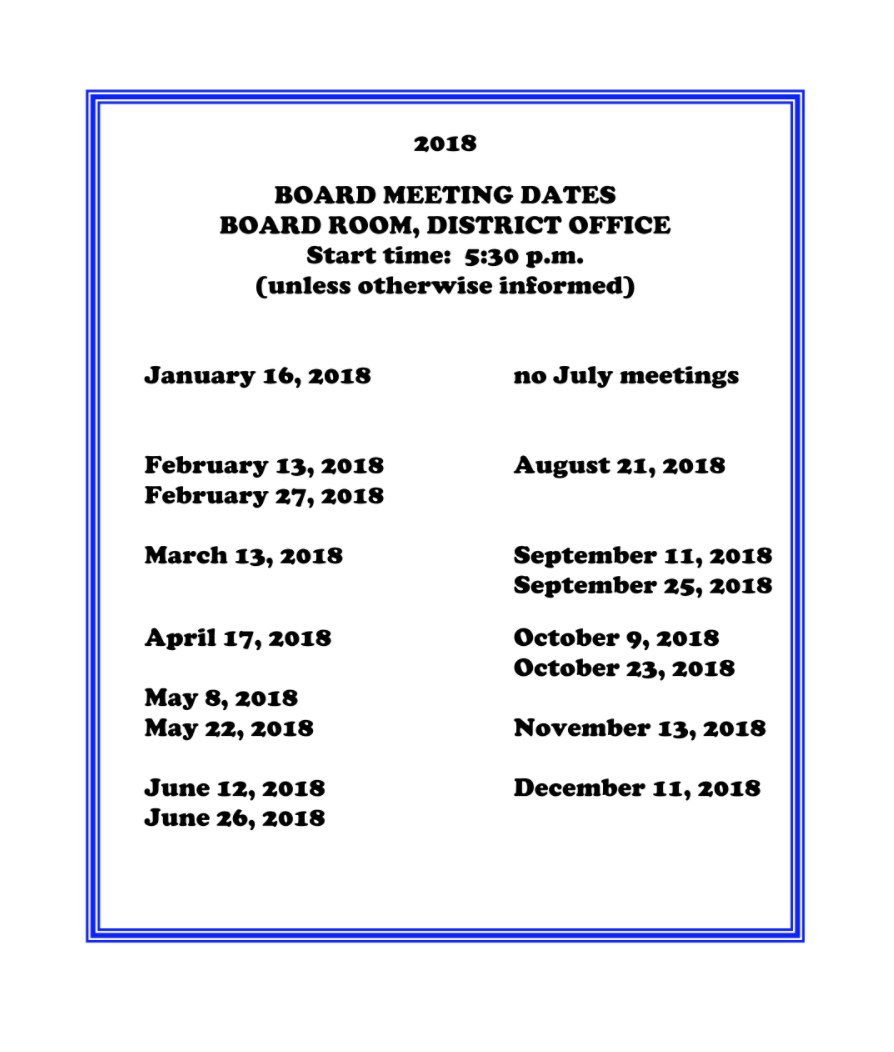 list of board meeting dates in 2018
