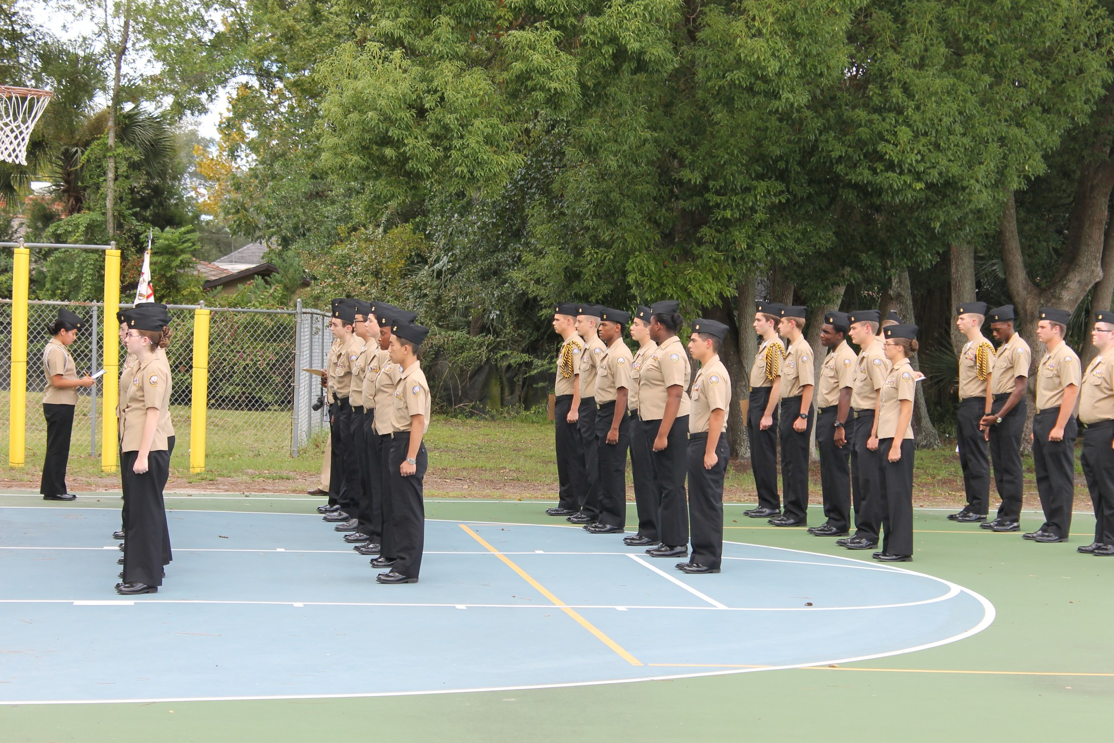 ROTC in line formation