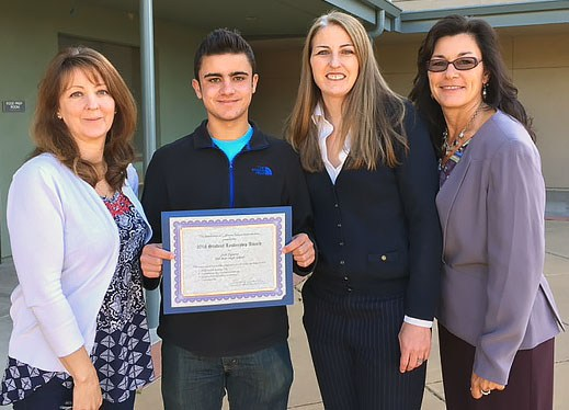 Students receive of student leadership awards from the Association of California School Administrators