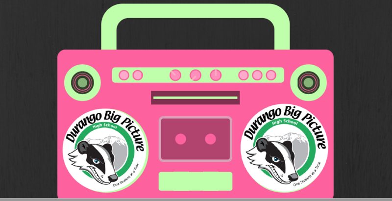 Graphic of a boom box with Big Picture logo speakers.