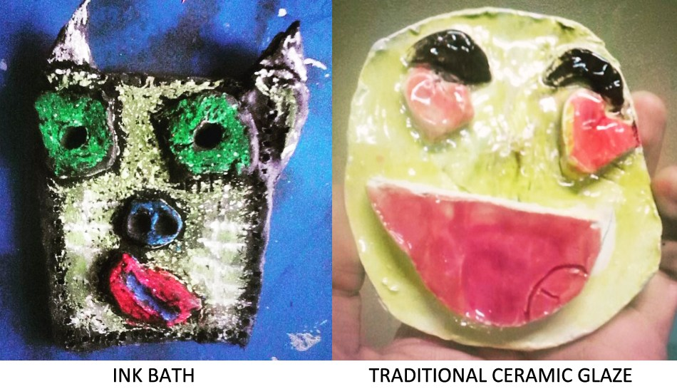 """Two ceramic sculptures with coloring techniques compared: the """"ink bath"""" image has rougher bright colors surrounded with back ink marks while the """"ceramic glaze"""" piece has softer colors and a glassy shine."""