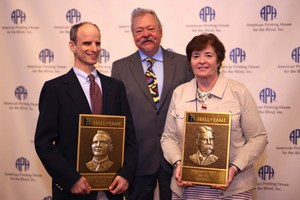 Pictured are David Goldstein, accepting for Smithdas, and Bernadette Kappen, accepting for Wait.Billy Brookshire is also pictured