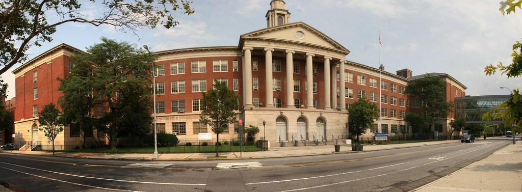 Panoramic View of the front of Midwood High School