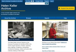 Website screen shot of the Helen Keller Homepage.