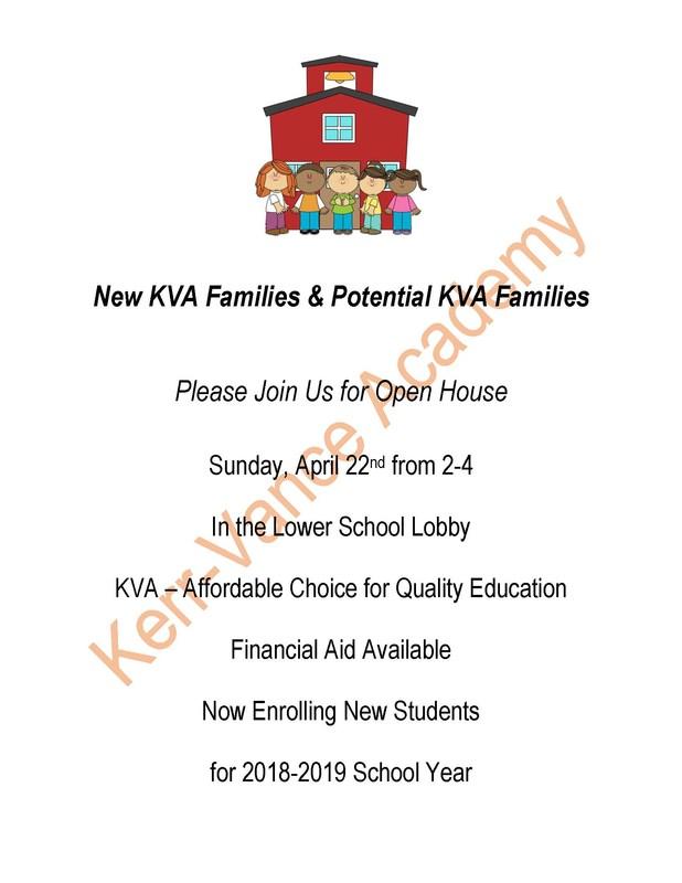 Kerr-Vance Academy Open House Sunday April 22, 2018 2-4pm Thumbnail Image