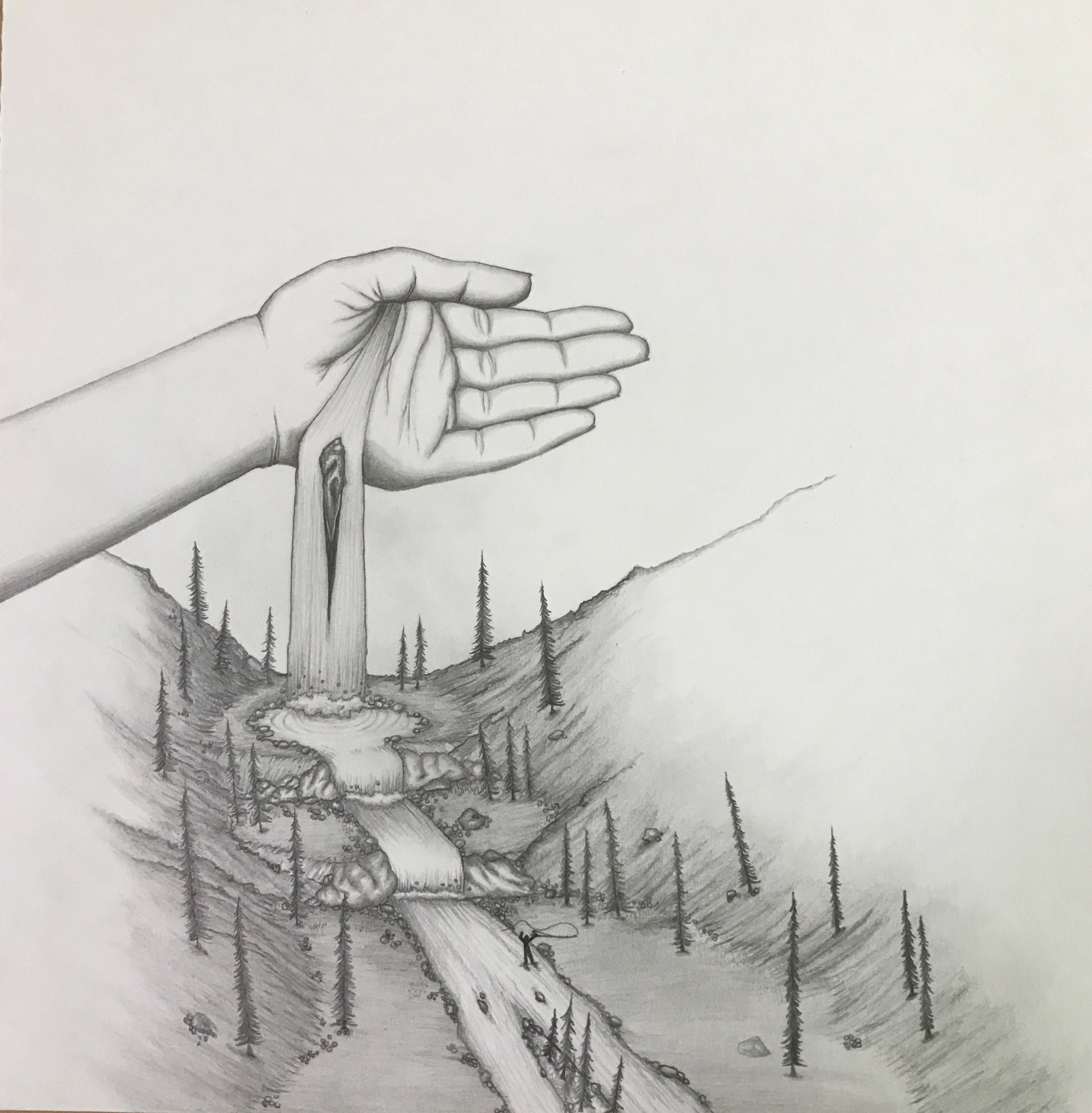 landscape drawing with hand
