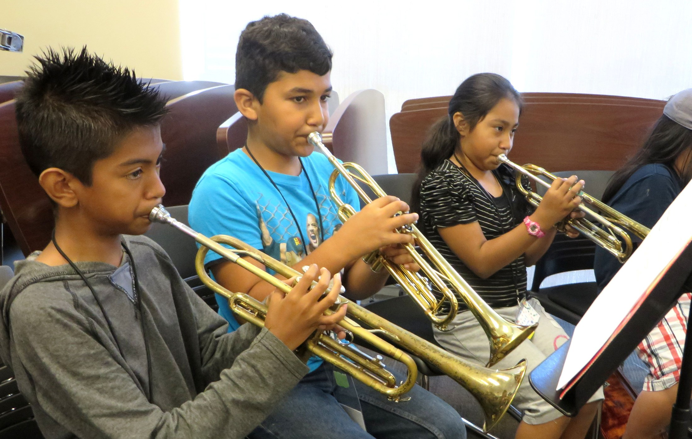 students playing trumpets