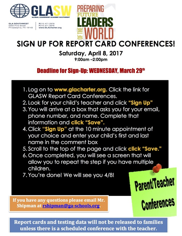 GLA SouthWest's Report Card Conferences are Saturday, April 8th, 2017 from 9:00am to 3:00pm Featured Photo