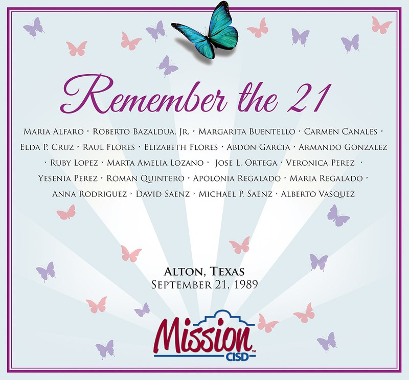 Graphic with a butterfly representing each of the 21 students killed in a bus accident in 1989