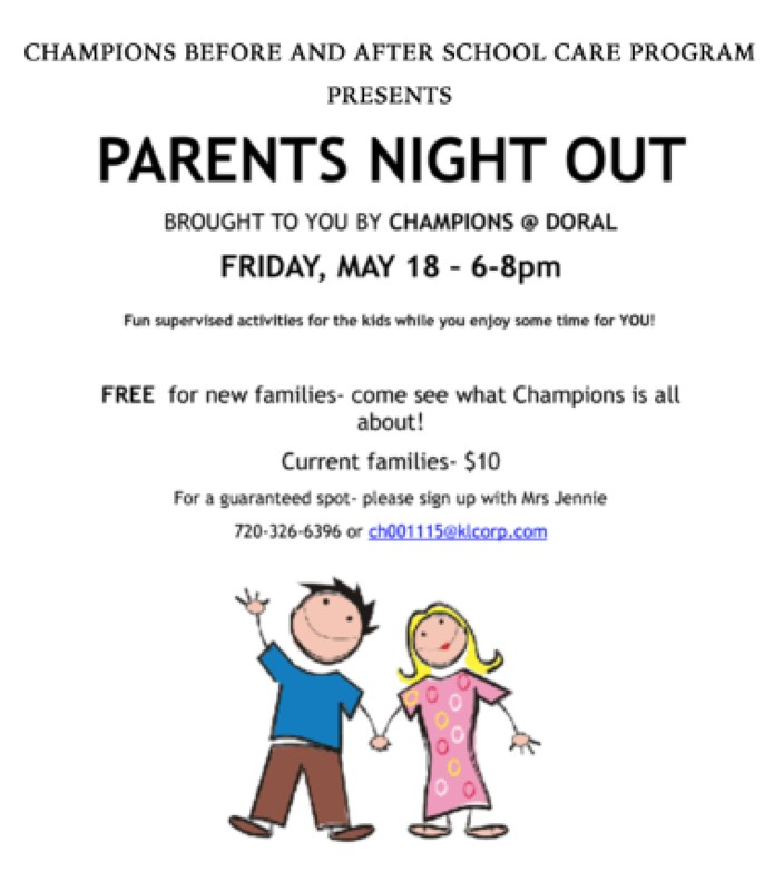 Champions Parents Night Out - See Flier for Details Thumbnail Image