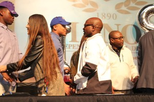 Jeremy Fowler shaking hands with MISD Superintendent Dr. Royce Avery.