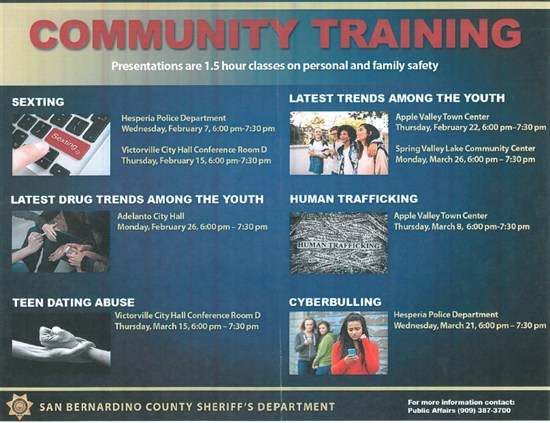 News: Personal & Family Safety Training from SBCSD Thumbnail Image