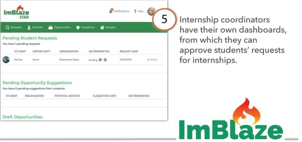 Internship coordinators have their own dashboards, from which they can approve students' requests for internships.