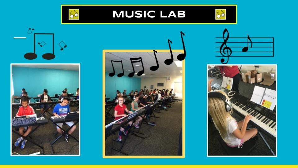 Students enjoying our Music Lab.