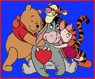 picture of Winnie the Pooh, Eeyore, Tigger and Piglet hugging.