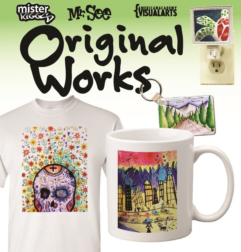 An image promoting the Original Works fundraiser, featuring products with elementary and middle school artworks reproduced thereupon