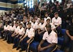Members of the Golden Talons JROTC drill team from Airport High School.