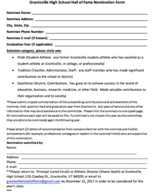 GHS Hall Of Fame Application