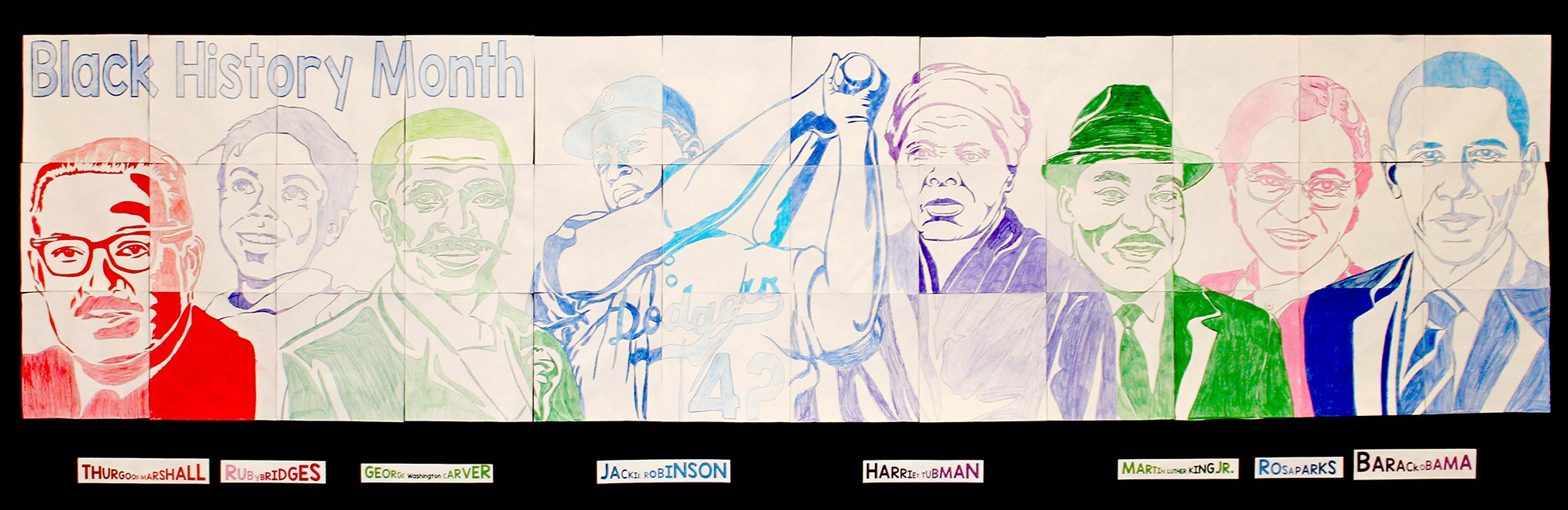 Student created collage poster of prominent African American persons
