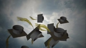 Mortarboards being tossed in the air
