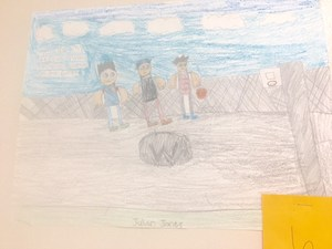 children's drawing of basketball players
