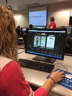 Student working on desktop