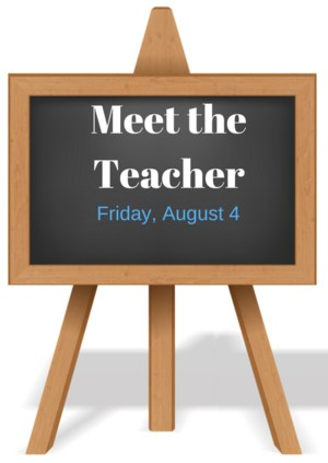 chalkboard clip art with Meet the Teacher on August 4