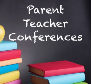 Parent-Teacher Conferences clipart - blackboard with books