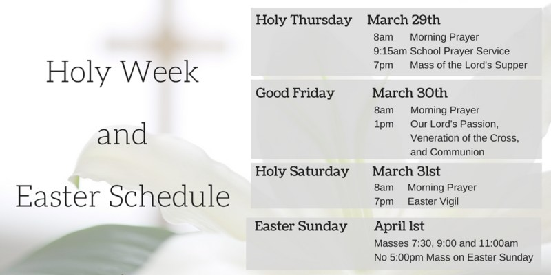Holy Week and Easter Schedule Featured Photo
