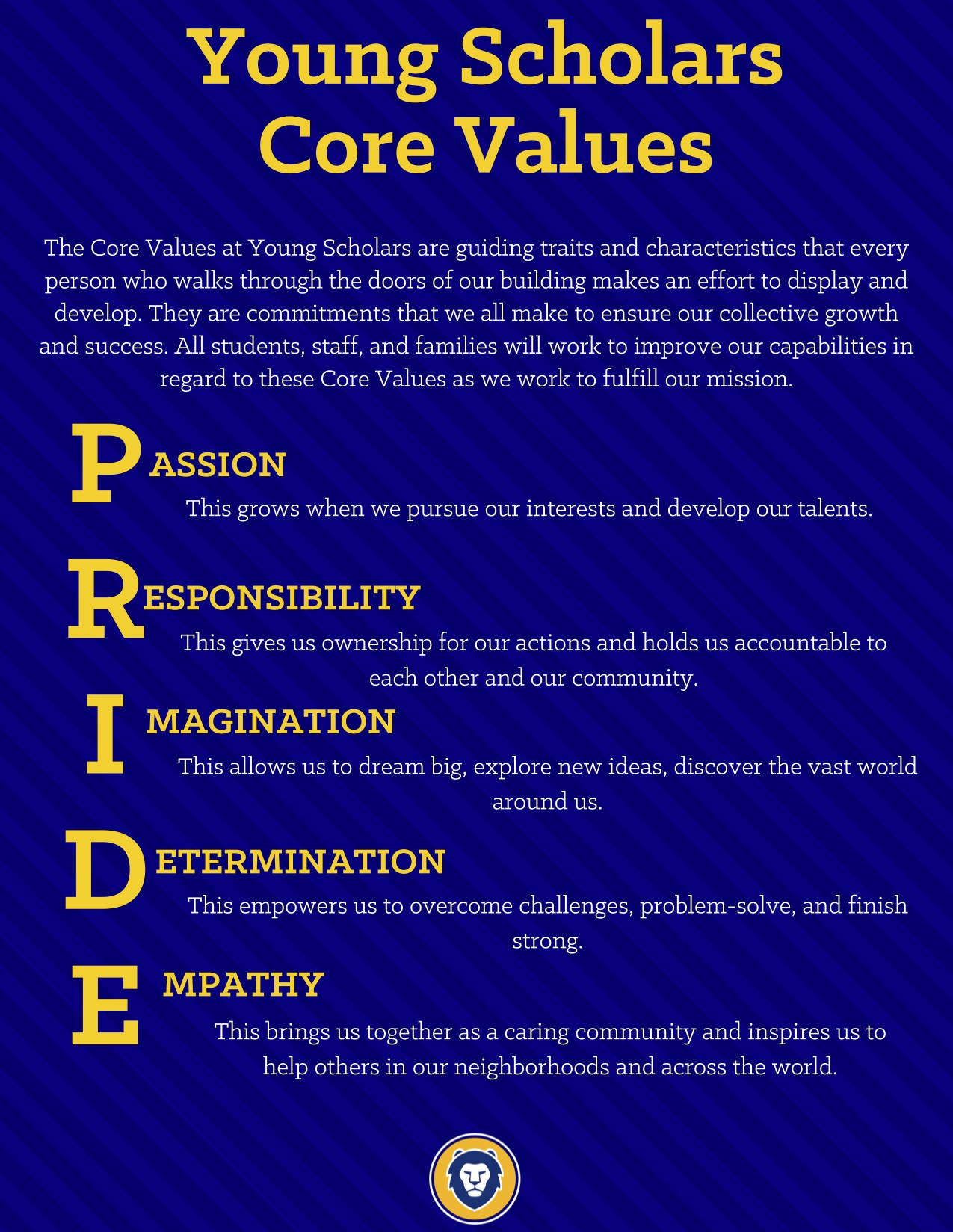 PRIDE: Passion, Responsibility, Imagination, Determination, Empathy
