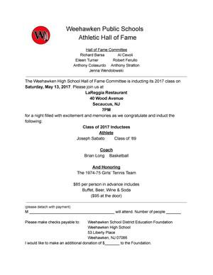 Weehawken Hall of Fame Dinner