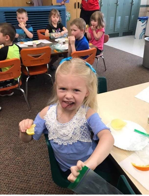 Picture Prekindergarten student tastes food