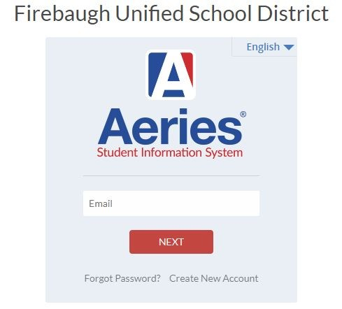 A Screenshot of the Aeries SIS Portal Login Page.