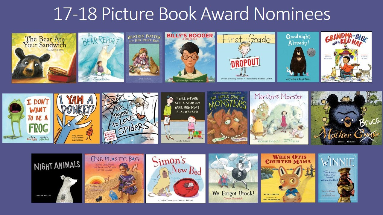 Pictures of book covers for the SC Picture book award nominees