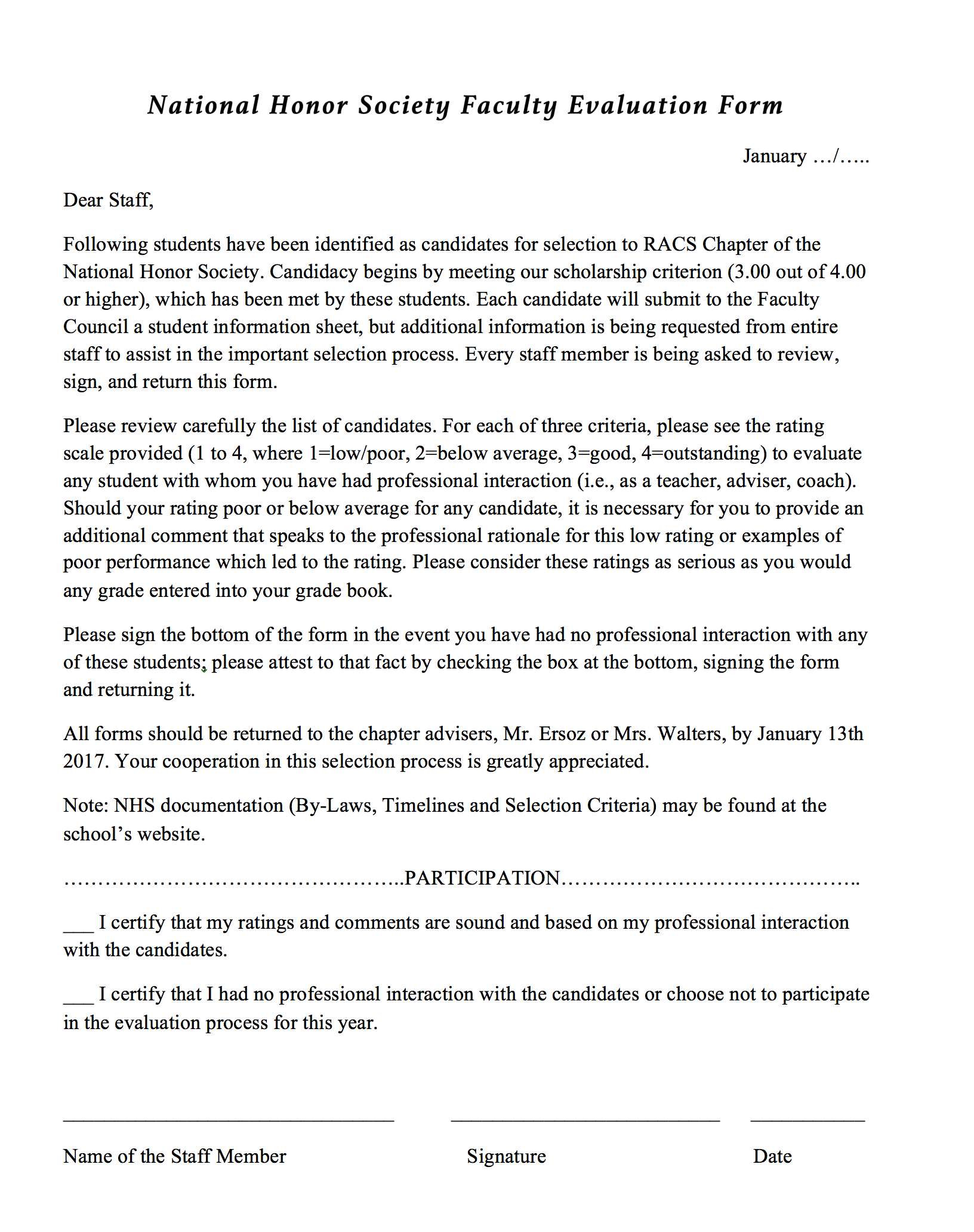Faculty Evaluation Form – National Honor Society – Rochester ...