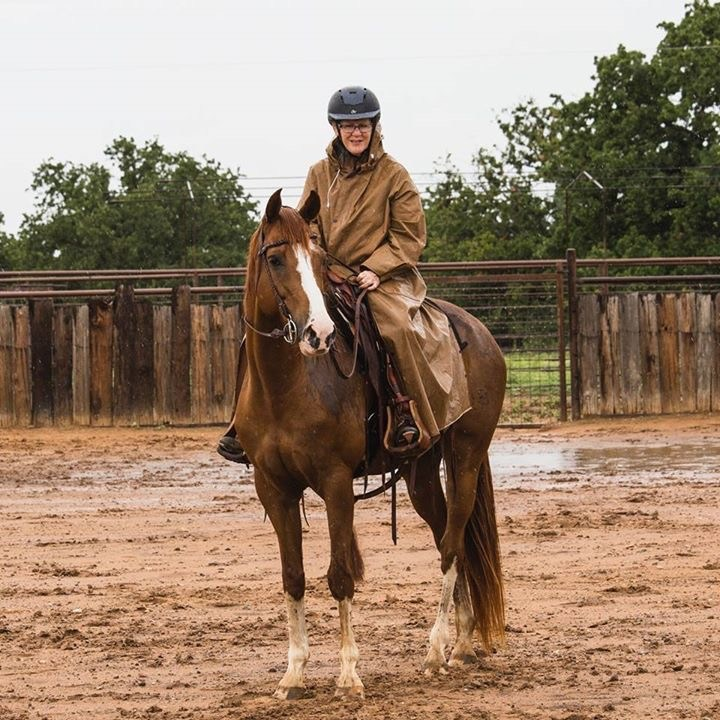 On my mare, Breeze, at a cow-working clinic in October, 2017