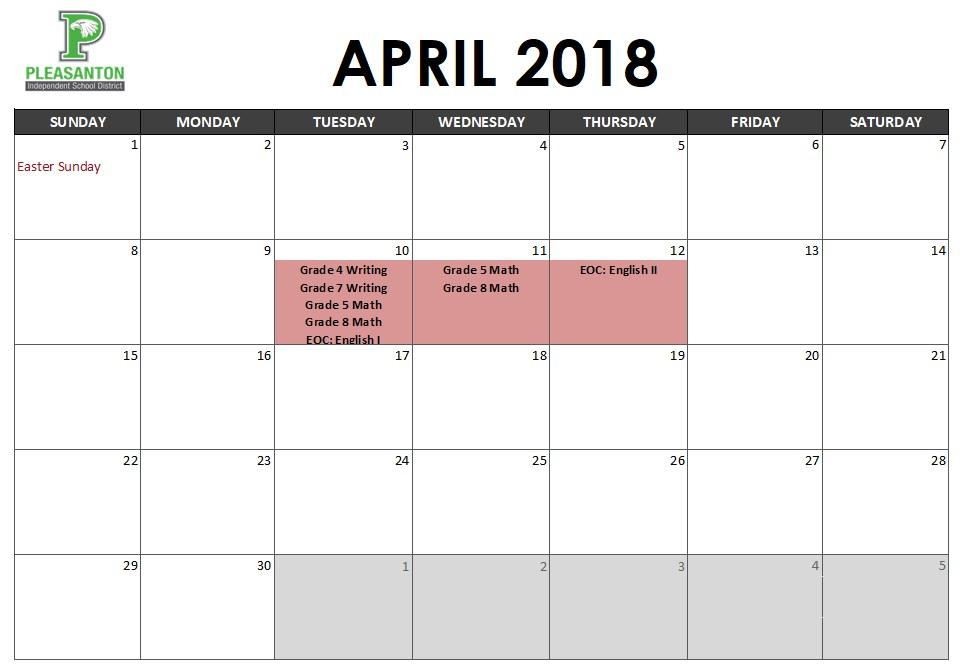 April Assessment Calendar