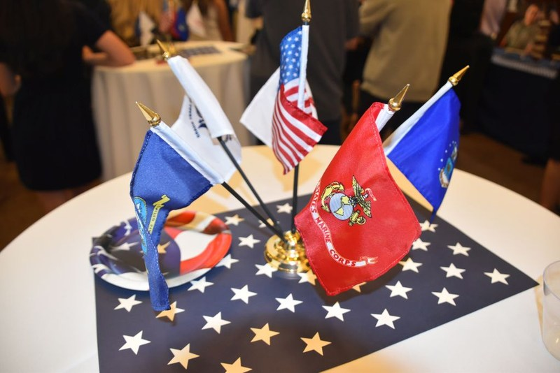 Flags on the table at the Vietnam Veteran's reception