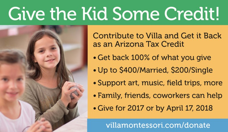 Contribute up to $400 to Villa Montessori and get it back as an Arizona Tax Credit! Deadline April 17, 2018!